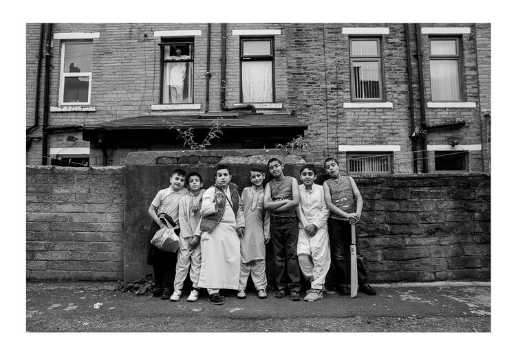Asian Boys outside House A4 print
