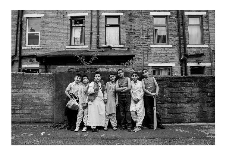 Asian Boys outside House A4 print