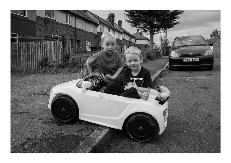 Boys in Toy Car A4 print