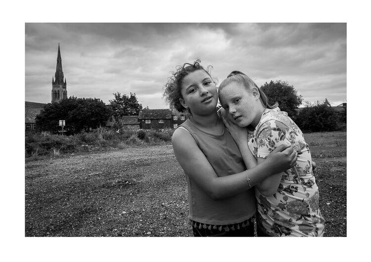 Girls by Church A4 print