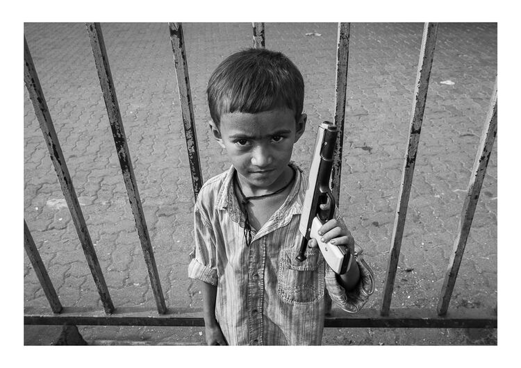 Mumbai Boy with Gun A4 print