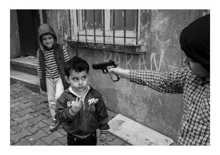 Istanbul Boy with Gun A4 print