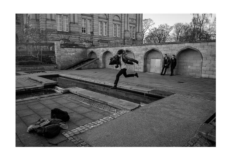 Schoolboy Jumping A4 print