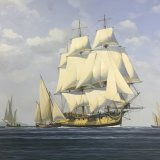 Early sailing frigate/naval art/marine painting