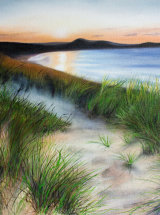 Evening Mist at Embleton Bay, Northumberland - Original Oil Painting