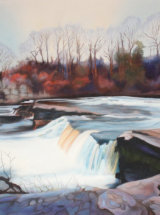 """Winter Afternoon Falls at Richmond - Original Oil Painting - 27"""" x 19"""" - SOLD"""