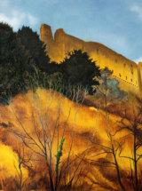 """Autumn Heat at Richmond Castle - Original Oil Painting - 15 ¾"""" x 14 ¼"""""""