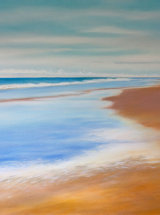 "Bamburgh Beach - Original Oil Painting - 24"" x 24"""
