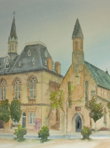 Town Hall, Bishop Auckland - Watercolour