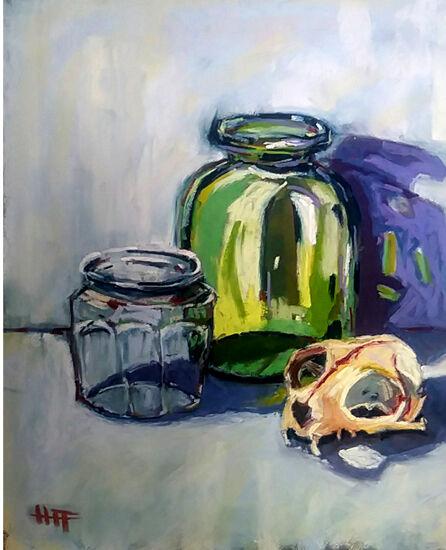 green jar and skull