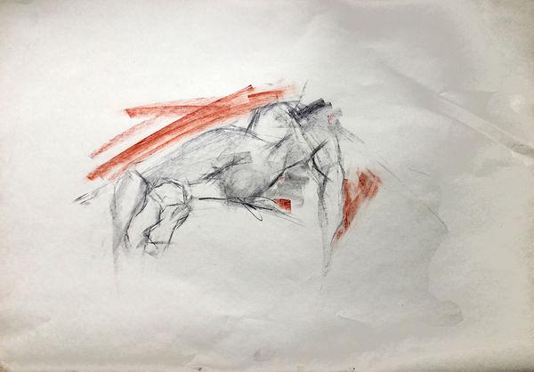 Life drawing, graphite, conté pastel, female
