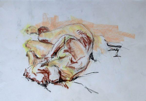 Life drawing, conté crayon, soft pastel, male
