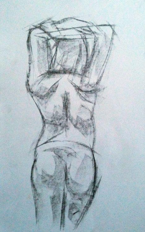 Pregnant woman, ten minute pose. Graphite.