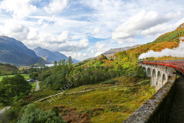 The Jacobite Express crossing the Glenfinnan Viaduct in Scotland