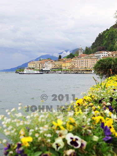 Colourful flower beds on the promenade at Bellagio Lake Como Italy