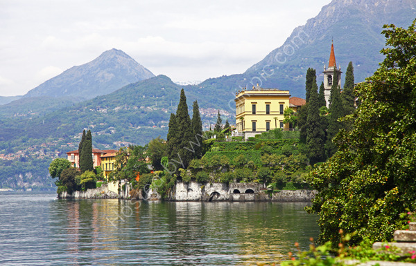 Looking towards the gardens of Villa Cipressi Varenna Lake Como Italy
