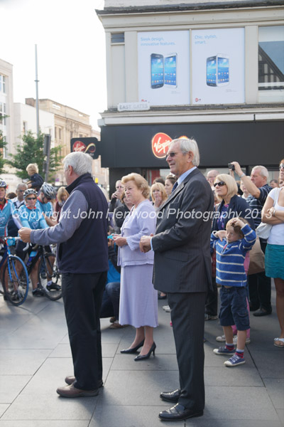 Michael  Turnbull, Chairman of Hope Against Cancer, Lady Gretton,Lord Lieutenant of Leicestershire and Tim Stevens, Bishop of Leicester blessing the cyclists
