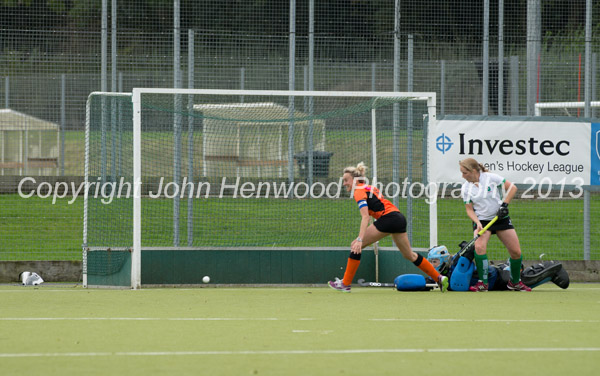 Vanessa Hawkins (Capt) scores Leicester's first goal against Canterbury