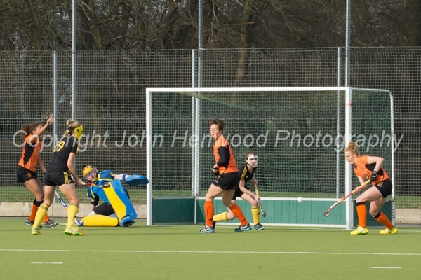 Kerry Whitehead scores Leicester's first,  Leicester 2 Beeston 1