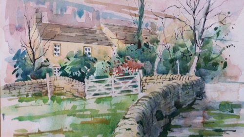 Watercolour, cottages at Baslow,