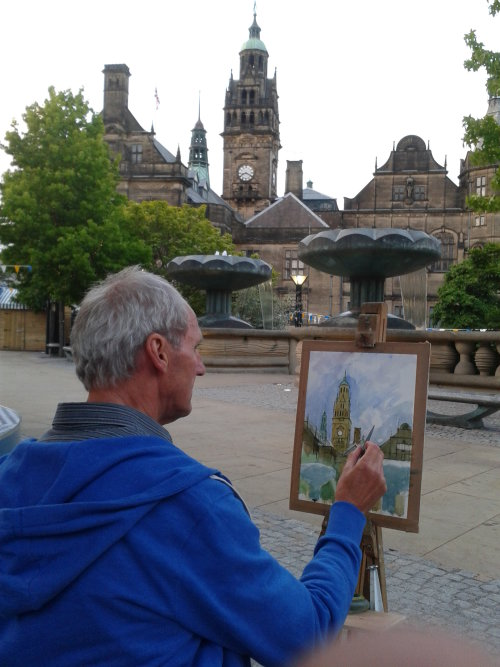 Watercolour painting in the Peace Gardens, Sheffield.