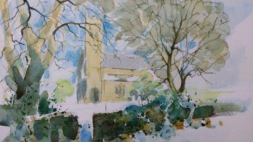 Watercolour Ridgeway church.