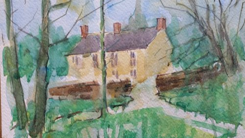 Cottages at Ford seen from the pond car park.