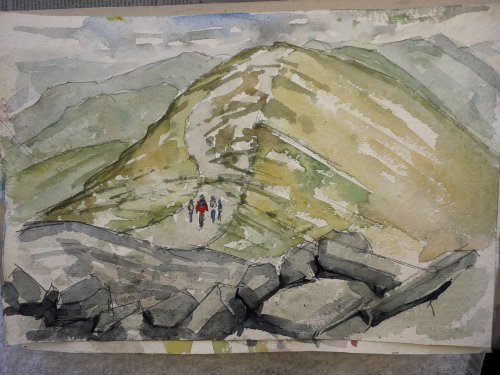 Watercolour,view from Skiddaw,Cumbria.