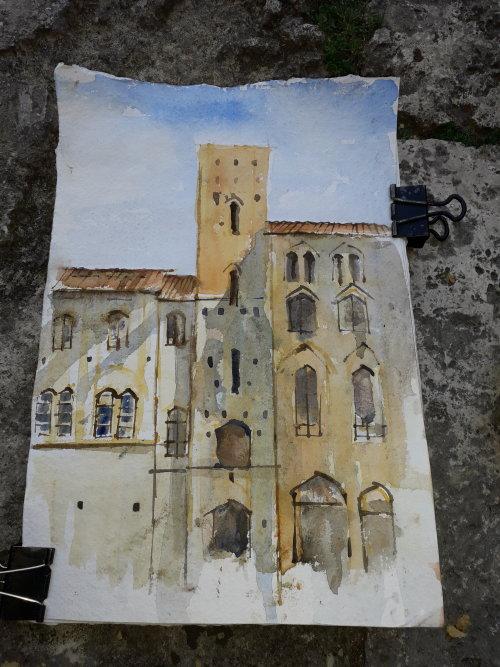 Watercolour San Gimignano,Italy.
