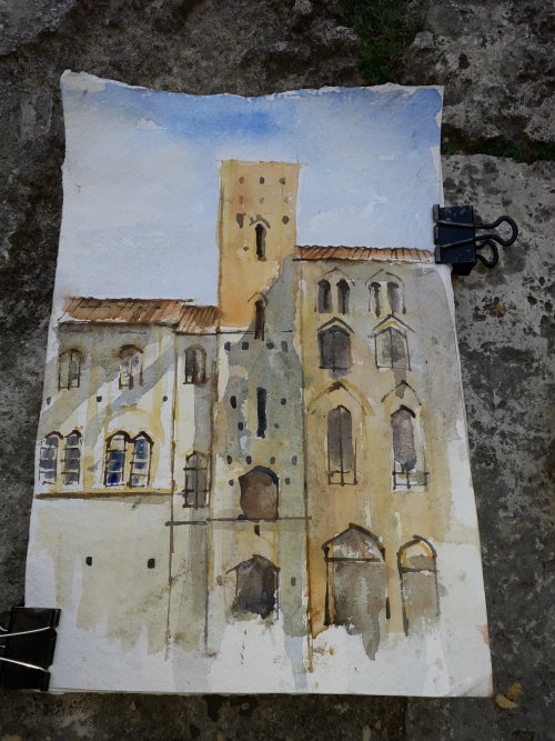 Watercolour,San Gimignano.Italy.