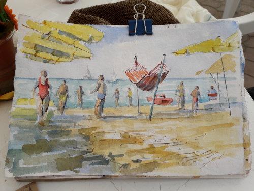 Watercolour on the beach in Viareggio,Italy.