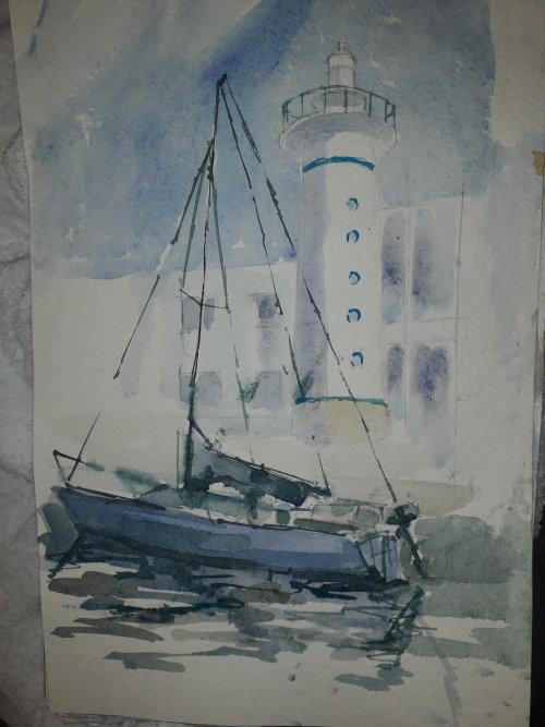 Watercolour,lighthouse & boat, Viareggio.Italy.