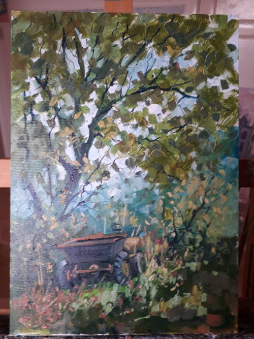 Oil painting in the grounds of a friend's house in Troway,Derbyshire.