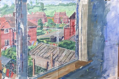 View from my studio window without snow. Watercolour.