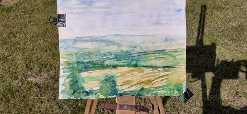 View from the Cowie, watercolour.