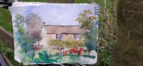 Cottage on Robinbrook Lane. Watercolour.