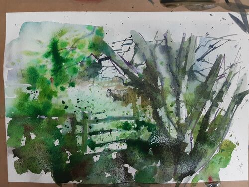 Watercolour in the Moss Valley.