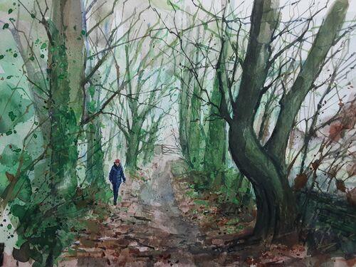 Lucy walking up Robinbrook Lane