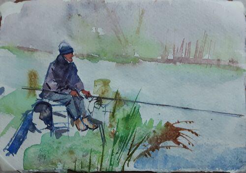 Fisherman at Ford pond, Ridgeway