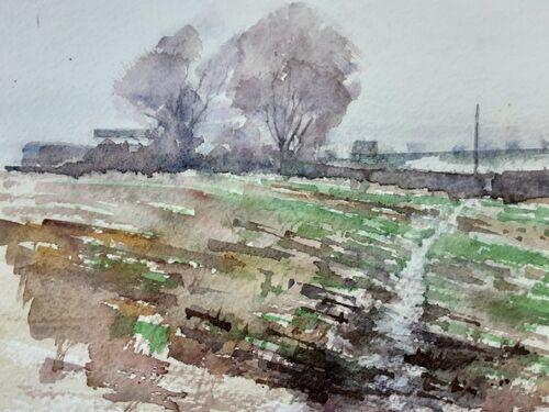 Watercolour view towards Robinbrook Lane, inthe Moss Valley