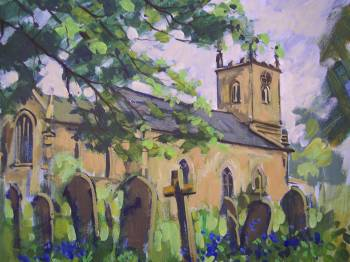 SOLD.Dore Church,Sheffield.This was painted one evening when our art club met up at Dore,took a couple of hours.Then into the pub.