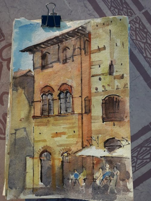 Watercolour,San Gimignano, Italy.