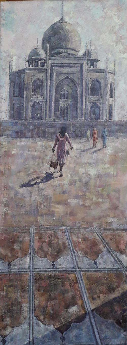 Oil on canvas 100cms x 75cms.Taj Mahal seen from the mosque.Now on show at the Bessemer 2 Gallery on Ecclesall Road  in Sheffield.