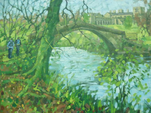 Framed £80.Oil on canvas. Ilam managed by The National Trust sits on Staffordshire border with Derbyshire.The river manifold paases by.