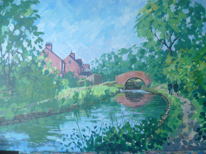 Acrylic on canvas showing the Chesterfield Canal near Thorpe Salvin