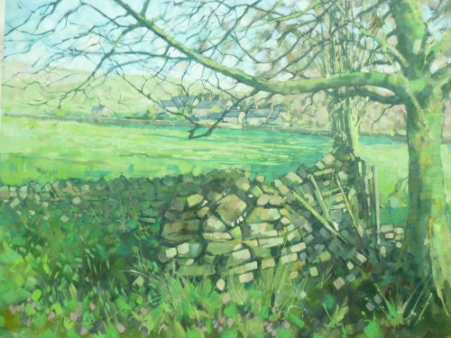 SOLD Framed.£100 Oil on canvas.Looking towards Rowland near Great Longstone.