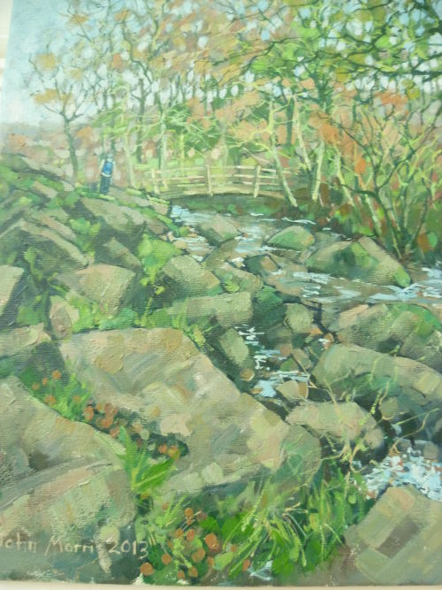 SOLD Framed.£80.Oil on canvas. Padley Gorge,Longshaw Estate,Derbyshire