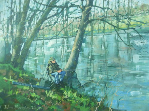 SOLD Framed £80.Oil on canvas. A fisherman in waiting, Graves Park,Sheffield