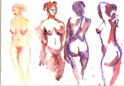 4 five min sketches using watercolour on good quality paper.