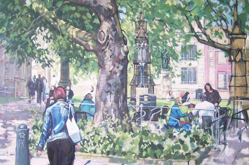 SOLD. Sheffield Cathedral grounds. Oil painting on canvas.
